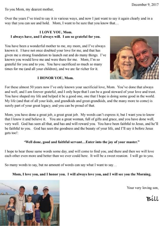 Bill's letter